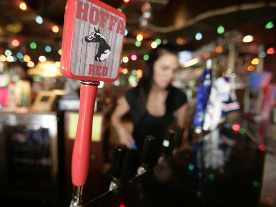 Hoffa Red Lager is sold on tap at Lu & Ruby's Bar and Grill in Milford, Tuesday, May 30, 2006, where employees wear T-shirts in reference to the FBI investigation for Jimmy Hoffa's body at the 89-acre Hidden Dreams horse farm in Milford,
