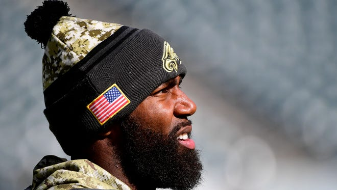 Philadelphia Eagles strong safety Malcolm Jenkins (27) during pregame warmups before game against the Atlanta Falcons at Lincoln Financial Field.
