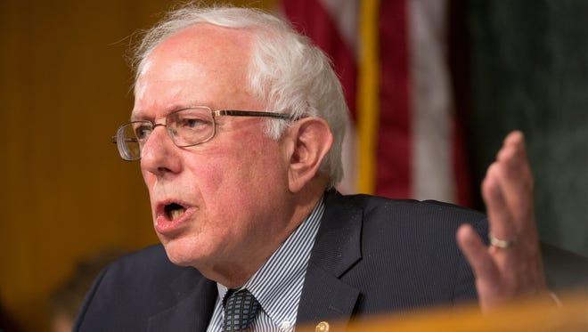 Sen. Bernie Sanders, I-Vt., speaks as Department of Veterans Affairs Secretary Eric Shinseki testifies before the Senate Veterans' Affairs Committee in Washington on May 15, 2014.