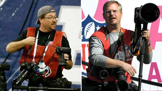 Star photographers Matt Kryger (left) and Matt Detrich have been photographing the Colts for more than a decade.