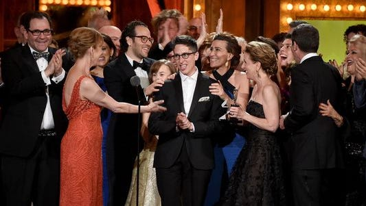 "American cartoonist Alison Bechdel with the cast and creative of ""Fun Home"" accept the award for Best Musical onstage at the 2015 Tony Awards at Radio City Music Hall on June 7, 2015 in New York City."