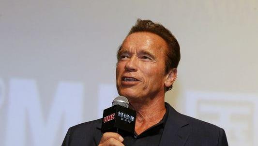 "Arnold Schwarzenegger promoting ""Terminator Genisys"" in Shanghai, China, on Aug. 18, 2015."