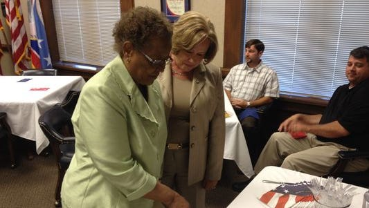 Lettie Kendall, left, was honored for her decades of service to the Montgomery County Commission last year.