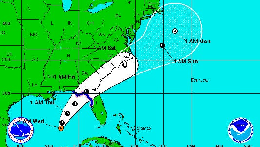 As of 5 a.m. Wednesday, Tropical Depression 9 was drifting north at 2 mph in the Gulf of Mexico.