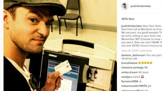 Justin Timberlake posted a selfie he snapped while voting in Germantown to encourage his fans to vote.