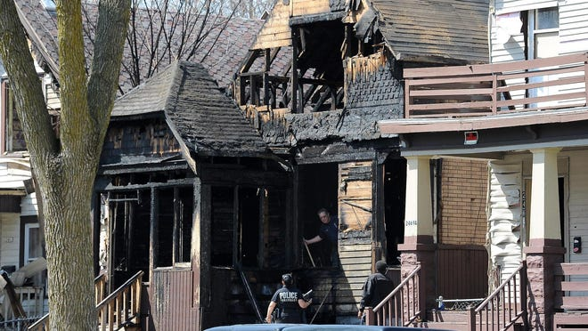 The scene of an arson fire April 17, 2015, that left Michea Sampson and Dontray Jones dead. Despite a $5,000 reward, the case remains unsolved.