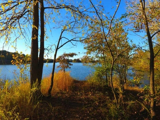 The view of the Elk Reservoir in Cumberland City from the Elk Harbor Lakeside Campground.