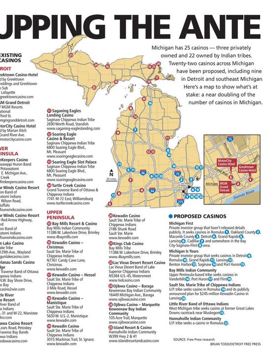 Michigan Casino Map Michigan casinos: Map of 25 existing and 22 more that are planned Michigan Casino Map