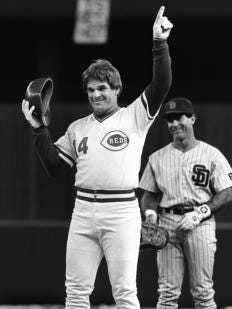 Pete Rose got his 4,192nd hit on Sept. 11, 1985, breaking the record of Ty Cobb.