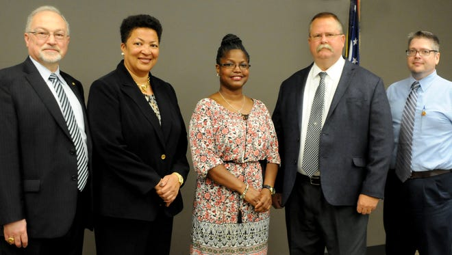 Dorey Diab, president of North Central State College; Cheryl Carter, director of Outreach for NC State; Renda Cline, president of Mansfield City Schools Board of Education; Brian Garverick, superintendent of Mansfield City Schools; and Robert McQuate, principal of Mansfield Middle School, have developed a team to lead the Graduate Pathways to Success (GPS) initiative between Mansfield City Schools and NC State College. Mansfield students will work throughout high school to complete both their high school diploma and an associate degree. The GPS program is funded through an Innovation Grant from the Ohio Department of Education.