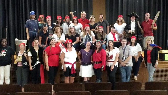 "Staff members at Landis Middle School donned costumes for ""Teach Like a Pirate Day."""