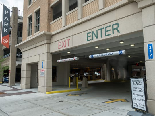 The Center Street Garage parking deck in downtown Royal