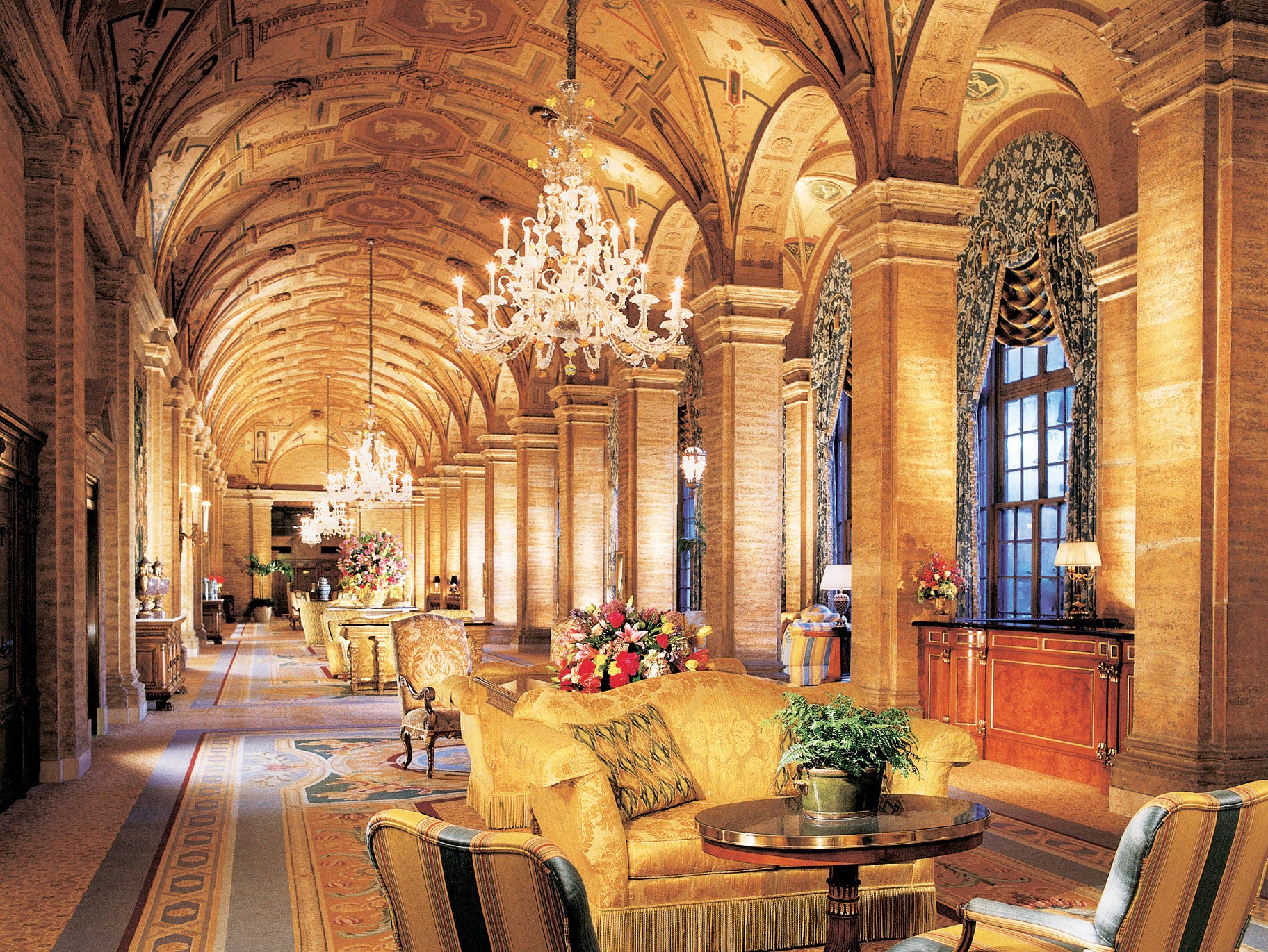 The lobby of the Breakers Hotel in Palm Beach, Florida.
