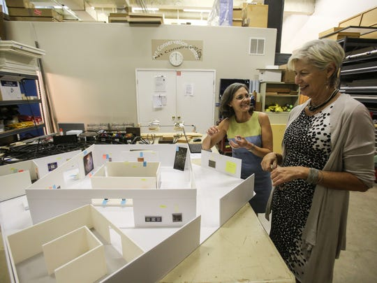 Alicia Thomas, the director of exhibitions & collections management for the Palm Springs Art Museum and Elizabeth Armstrong, the JoAnn McGrath executive director for the Palm Springs Art Museum, look over a model of a coming exhibition 'Kinesthesia: Latin American Kinetic Art, 1954Ð1969.' Photo taken on Wednesday, May 10, 2017.