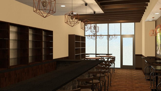 Renderings of the interior view of Wine Time on Main, the wine bar planned for Washington Square in downtown Sioux Falls.