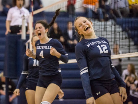 Marysville's Hayley Delor celebrates during a Class