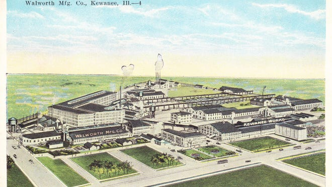This airbrushed, colorized view of the Walworth factory was a popular postcard in Kewanee around 1920, shortly after it was sold in 1917 by National Tube Company to Walworth Mfg. Co. of Boston, Mass.  The location is east of Main Street, south of the train tracks and north of Third Street.