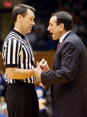 How the game is officiated will be important to Indiana because Duke is so good at the free throw line. Duke Blue Devils coach Mike Krzyzewski argued with official James Breeding in their game against the Yale Bulldogs Nov. 25 at Cameron Indoor Stadium.