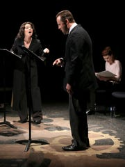 """Melanie Nelson, Joel Thomas and Kristina Harding participate in a reading of """"The Process"""" by Sue Lange during the Second Act New Works Festival on Feb. 16 at Dixie State University's Eccles Black Box Theater."""