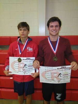Glen Ridge wrestlers Nick Fiorillo (left) and Joe Marchesano captured gold at the Rahway Holiday Wrestling Tournament.