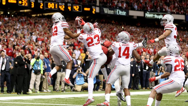 Ohio State Buckeyes safety Tyvis Powell (23) intercepts this Hail Mary pass against the Alabama Crimson Tide in the fourth quarter of the 2015 Sugar Bowl at Mercedes-Benz Superdome. Ohio State Buckeyes beat the against the Alabama Crimson Tide, 42-35.
