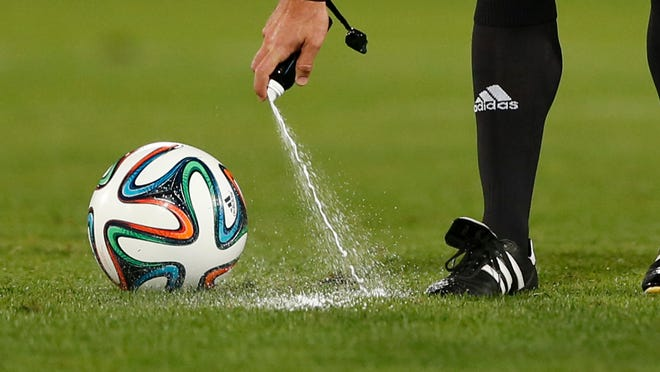 Vanishing spray in use during the Club World Cup