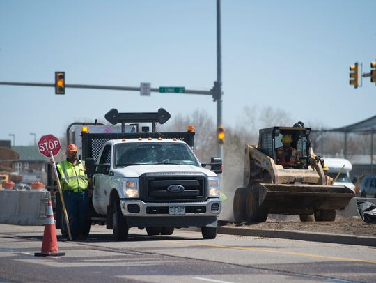 Construction continues on Mulberry Street on Wednesday,