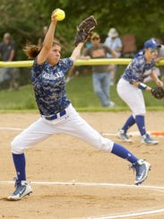 Maddie Rogers pitches for Horseheads in a 9-8 win over