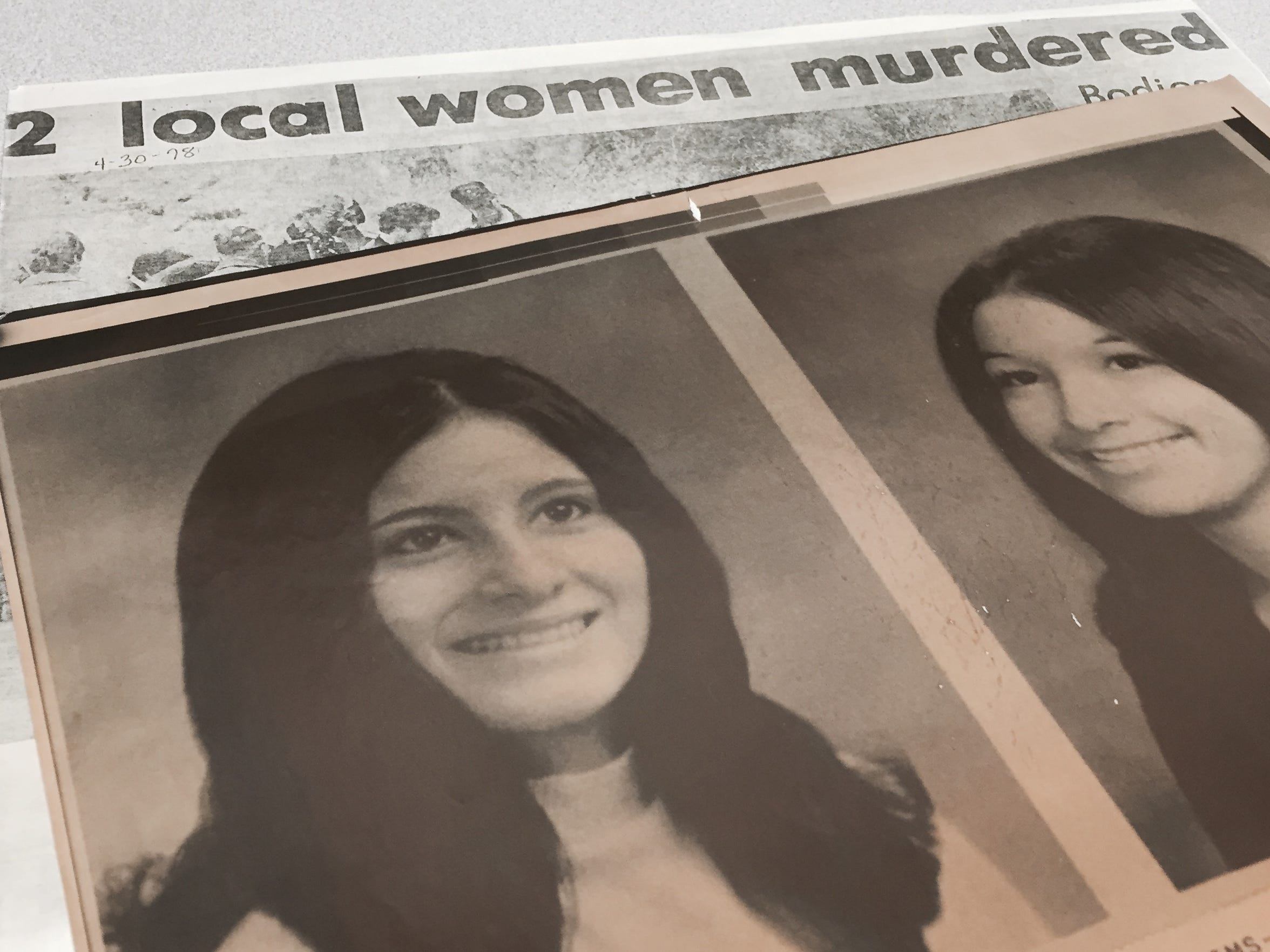 Coloradoan clippings and old photographs of Julia Mata DeLosSantos (left) and Rosemary Mata (right).