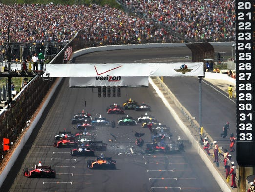 The start of the inaugural Indianapolis Grand Prix was marred by a crash at the Indianapolis Motor Speedway on May 10, 2014.