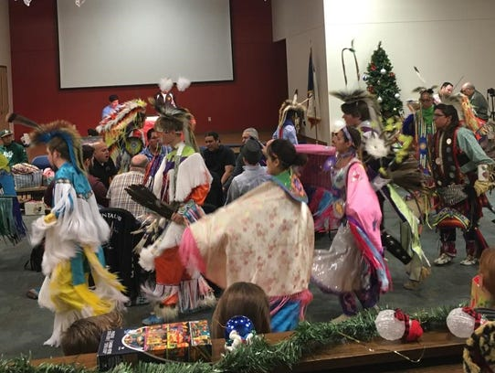 Dancers perform at the 2017 Native American Pow Wow
