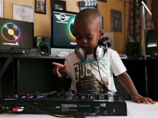 Known to his fans as DJ AJ, 2-year-old Oratilwe Hlongwane