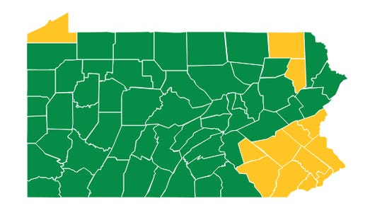 Franklin County, along with most of Pennsylvania, has entered the green phase of reopening. GRAPHIC PROVIDED BY YORK DAILY RECORD