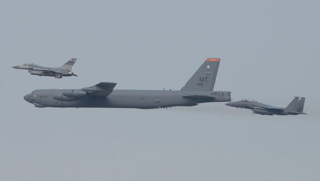 An American B-52 bomber flies over South Korea on January 10, 2016.