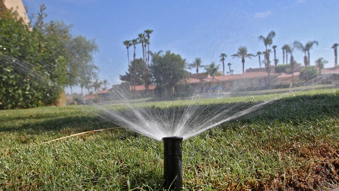 A sprinkler in the Lake Mirage Racquet Club in Rancho Mirage.