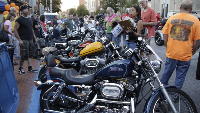 Riders from all over York County parade during York Bike Night in 2016.
