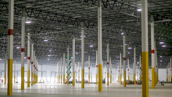 Amazon's fulfillment center in Livonia during a media tour on Wednesday, July 26, 2017.