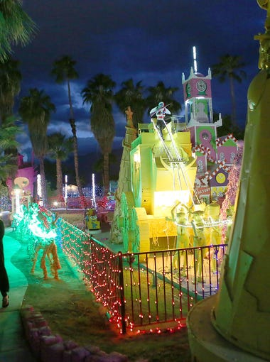 Robolights. Don't miss Kenny Irwin's Jr.'s spectacularly weird and awesome holiday display. Donations welcomed but not required. Address: 1077EGranviaValmonte,PalmSprings