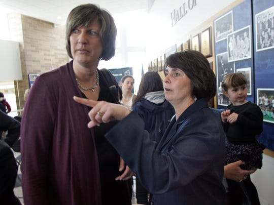 WEST LONG BRANCH - 4/21/2011 - Monmouth University's new women's head basketball coach Jenny Palmateer (right) is shown with Seton Hall women's basketball head coach Anne Donovan after a news conference at the university Thursday afternoon.   Palmmateer was an assistant for Donovan at Seton Hall.  PALMATEER0421G - ASBURY PARK PRESS PHOTO BY THOMAS P. COSTELLO