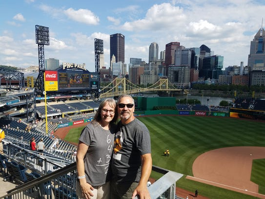 The Lovatos at PNC Park in Pittsburgh. They logged