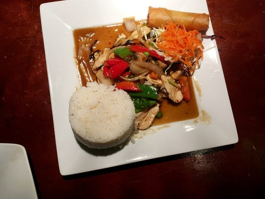 Jasmine, the Thai restaurant in the Cool Springs area, offers a beautiful and delicious lunch for just under $10 including tax.