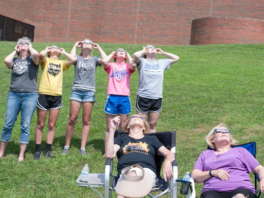 A group of friends watch the solar eclipse at Ohio