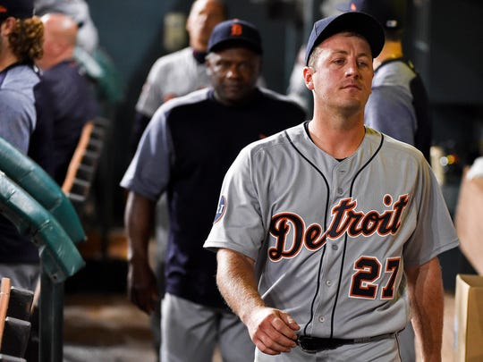 Tigers starting pitcher Jordan Zimmermann in the dugout after being taken out of the game during the seventh inning against the Astros, Tuesday, May 23, 2017 in Houston.