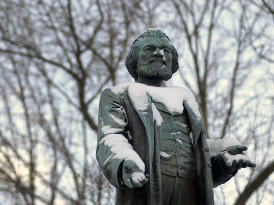 Statue of Frederick Douglass in Frederick Douglass Square on South Avenue.