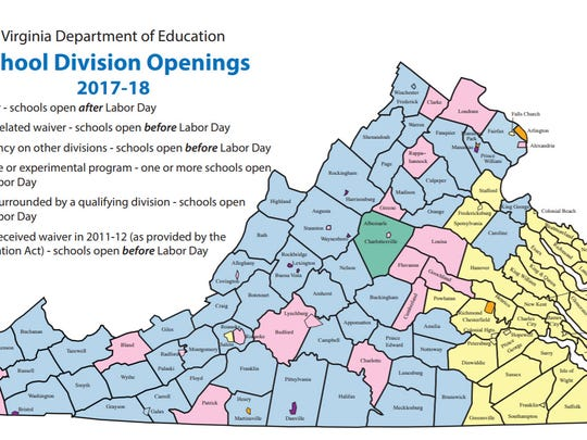 Map of Virginia School Division Openings and Waivers