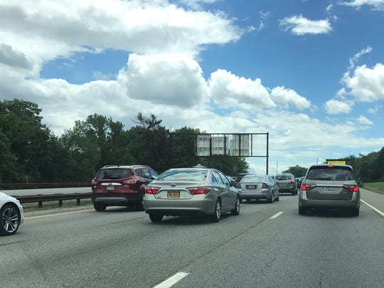 Slow-moving traffic Friday afternoon on the Garden State Parkway southbound in Clifton.