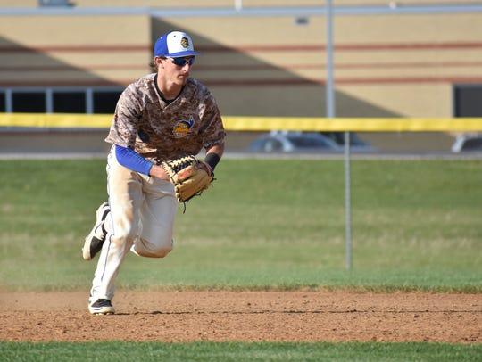 Waynesboro's Jarrett Biesecker fields a ball during