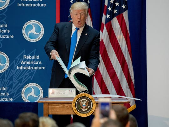 President Trump shows the size of road planning documents for a highway plan in Maryland while speaking at the Department of Transportation Friday.