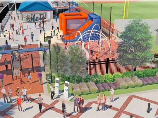 Artist rendering of future Kids Zone at NYSEG Stadium