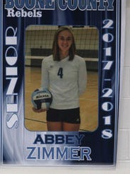 Abbey Zimmer's poster with the other seniors on the